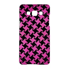 Houndstooth2 Black Marble & Pink Brushed Metal Samsung Galaxy A5 Hardshell Case  by trendistuff