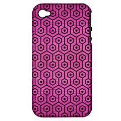 Hexagon1 Black Marble & Pink Brushed Metal Apple Iphone 4/4s Hardshell Case (pc+silicone)
