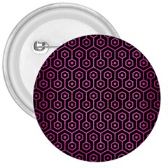 Hexagon1 Black Marble & Pink Brushed Metal (r) 3  Buttons by trendistuff
