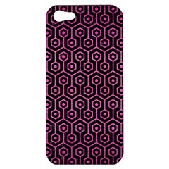 Hexagon1 Black Marble & Pink Brushed Metal (r) Apple Iphone 5 Hardshell Case by trendistuff