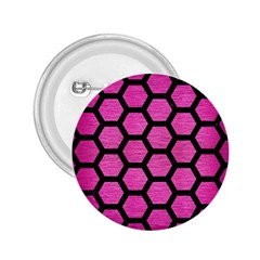 Hexagon2 Black Marble & Pink Brushed Metal 2 25  Buttons by trendistuff