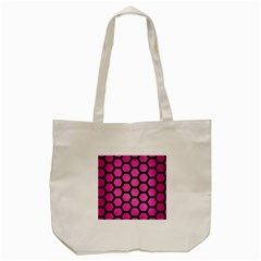 Hexagon2 Black Marble & Pink Brushed Metal Tote Bag (cream) by trendistuff