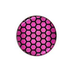 Hexagon2 Black Marble & Pink Brushed Metal Hat Clip Ball Marker (4 Pack) by trendistuff
