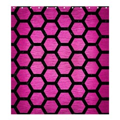 Hexagon2 Black Marble & Pink Brushed Metal Shower Curtain 66  X 72  (large)  by trendistuff