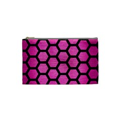 Hexagon2 Black Marble & Pink Brushed Metal Cosmetic Bag (small)  by trendistuff