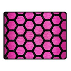 Hexagon2 Black Marble & Pink Brushed Metal Fleece Blanket (small)