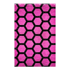 Hexagon2 Black Marble & Pink Brushed Metal Shower Curtain 48  X 72  (small)  by trendistuff