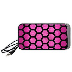 Hexagon2 Black Marble & Pink Brushed Metal Portable Speaker by trendistuff