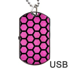 Hexagon2 Black Marble & Pink Brushed Metal Dog Tag Usb Flash (one Side) by trendistuff