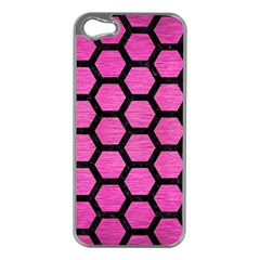 Hexagon2 Black Marble & Pink Brushed Metal Apple Iphone 5 Case (silver) by trendistuff