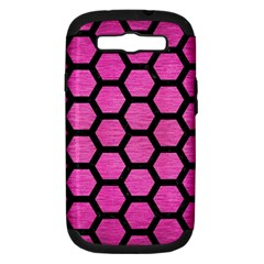 Hexagon2 Black Marble & Pink Brushed Metal Samsung Galaxy S Iii Hardshell Case (pc+silicone) by trendistuff