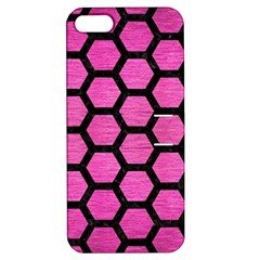 Hexagon2 Black Marble & Pink Brushed Metal Apple Iphone 5 Hardshell Case With Stand by trendistuff