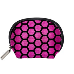 Hexagon2 Black Marble & Pink Brushed Metal Accessory Pouches (small)  by trendistuff