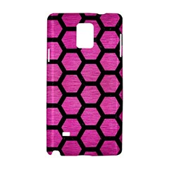 Hexagon2 Black Marble & Pink Brushed Metal Samsung Galaxy Note 4 Hardshell Case by trendistuff