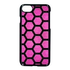 Hexagon2 Black Marble & Pink Brushed Metal Apple Iphone 7 Seamless Case (black) by trendistuff