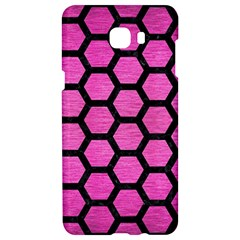Hexagon2 Black Marble & Pink Brushed Metal Samsung C9 Pro Hardshell Case  by trendistuff