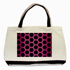 Hexagon2 Black Marble & Pink Brushed Metal (r) Basic Tote Bag by trendistuff