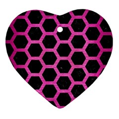 Hexagon2 Black Marble & Pink Brushed Metal (r) Heart Ornament (two Sides) by trendistuff