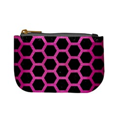 Hexagon2 Black Marble & Pink Brushed Metal (r) Mini Coin Purses by trendistuff