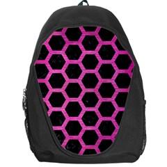 Hexagon2 Black Marble & Pink Brushed Metal (r) Backpack Bag by trendistuff