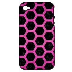 Hexagon2 Black Marble & Pink Brushed Metal (r) Apple Iphone 4/4s Hardshell Case (pc+silicone) by trendistuff