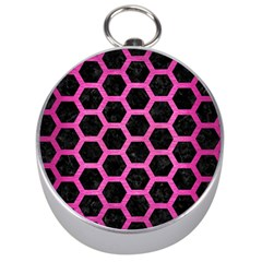 Hexagon2 Black Marble & Pink Brushed Metal (r) Silver Compasses by trendistuff