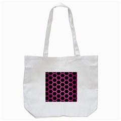 Hexagon2 Black Marble & Pink Brushed Metal (r) Tote Bag (white) by trendistuff