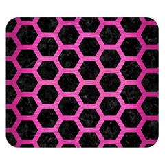 Hexagon2 Black Marble & Pink Brushed Metal (r) Double Sided Flano Blanket (small)  by trendistuff