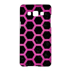 Hexagon2 Black Marble & Pink Brushed Metal (r) Samsung Galaxy A5 Hardshell Case  by trendistuff
