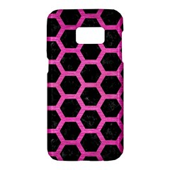 Hexagon2 Black Marble & Pink Brushed Metal (r) Samsung Galaxy S7 Hardshell Case