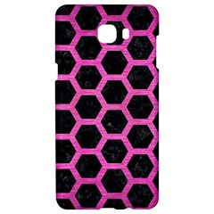 Hexagon2 Black Marble & Pink Brushed Metal (r) Samsung C9 Pro Hardshell Case  by trendistuff