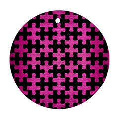 Puzzle1 Black Marble & Pink Brushed Metal Round Ornament (two Sides) by trendistuff