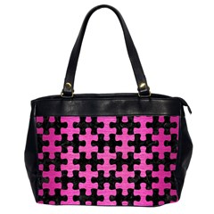 Puzzle1 Black Marble & Pink Brushed Metal Office Handbags (2 Sides)  by trendistuff