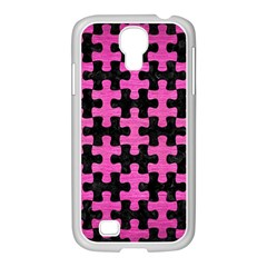 Puzzle1 Black Marble & Pink Brushed Metal Samsung Galaxy S4 I9500/ I9505 Case (white) by trendistuff