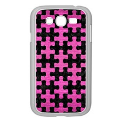 Puzzle1 Black Marble & Pink Brushed Metal Samsung Galaxy Grand Duos I9082 Case (white) by trendistuff