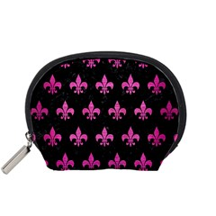Royal1 Black Marble & Pink Brushed Metal Accessory Pouches (small)  by trendistuff