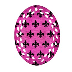 Royal1 Black Marble & Pink Brushed Metal (r) Oval Filigree Ornament (two Sides) by trendistuff