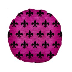 Royal1 Black Marble & Pink Brushed Metal (r) Standard 15  Premium Round Cushions by trendistuff
