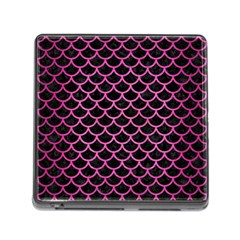 Scales1 Black Marble & Pink Brushed Metal (r) Memory Card Reader (square) by trendistuff