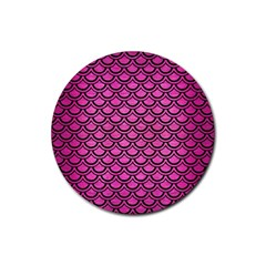 Scales2 Black Marble & Pink Brushed Metal Rubber Round Coaster (4 Pack)  by trendistuff