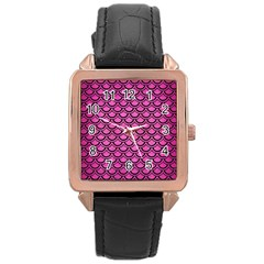 Scales2 Black Marble & Pink Brushed Metal Rose Gold Leather Watch  by trendistuff