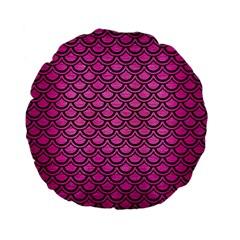 Scales2 Black Marble & Pink Brushed Metal Standard 15  Premium Flano Round Cushions by trendistuff