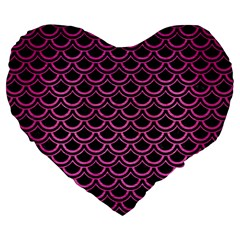 Scales2 Black Marble & Pink Brushed Metal (r) Large 19  Premium Heart Shape Cushions by trendistuff