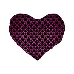 Scales2 Black Marble & Pink Brushed Metal (r) Standard 16  Premium Flano Heart Shape Cushions by trendistuff
