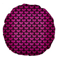 Scales3 Black Marble & Pink Brushed Metal Large 18  Premium Flano Round Cushions by trendistuff