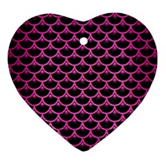 Scales3 Black Marble & Pink Brushed Metal (r) Heart Ornament (two Sides) by trendistuff