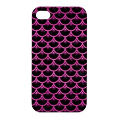 Scales3 Black Marble & Pink Brushed Metal (r) Apple Iphone 4/4s Premium Hardshell Case by trendistuff