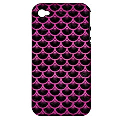 Scales3 Black Marble & Pink Brushed Metal (r) Apple Iphone 4/4s Hardshell Case (pc+silicone)