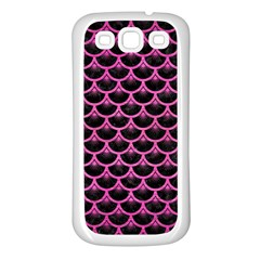 Scales3 Black Marble & Pink Brushed Metal (r) Samsung Galaxy S3 Back Case (white) by trendistuff