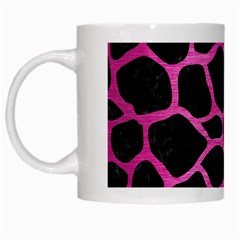 Skin1 Black Marble & Pink Brushed Metal White Mugs by trendistuff
